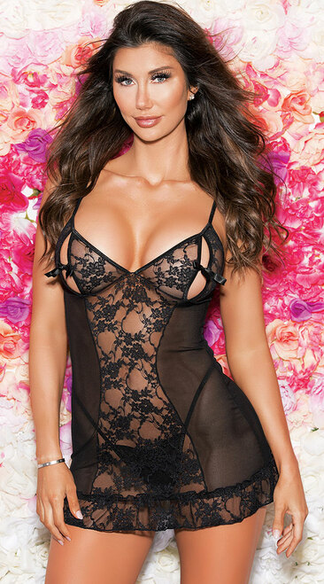Sexy Peek A Boo Black Mesh and Lace Chemise