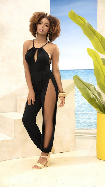Sexy Jumpsuit with Side Leg Openings