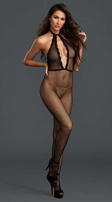Sexy Black Fishnet Crotchless Bodystocking