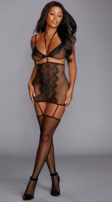 Sexy Fishnet Bralette and Bodystocking Set