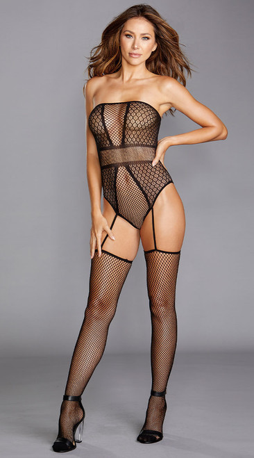 Sexy Strapless fishnet Teddy Bodystocking