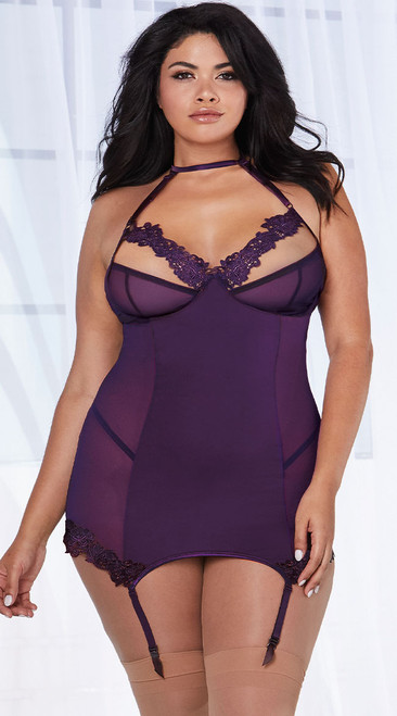 Plus Size Romantic Plum Mesh Garter Slip Set
