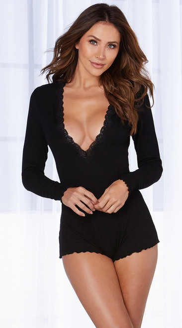 Cozy Black Long Sleeve Romper