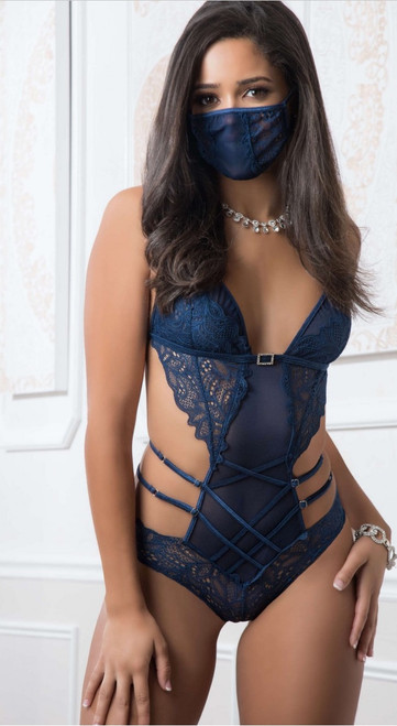 Mask up French Blue Lacy Teddy