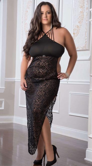 Plus Size Strappy Halter Black Lace Gown