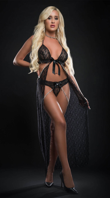 Black Lace Open Front Flyaway Night Gown
