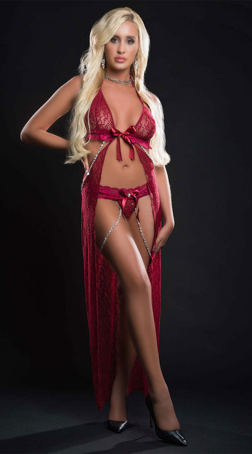Red Berry Lace Open Front Flyaway Night Gown