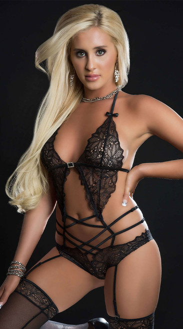 Black Scallop Lacy Gartered Teddy