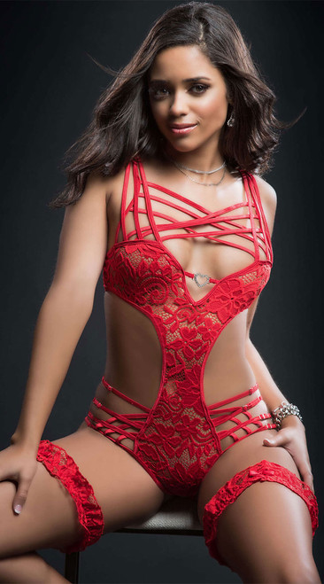 Sexy Holiday Red Caged Teddy with Garters