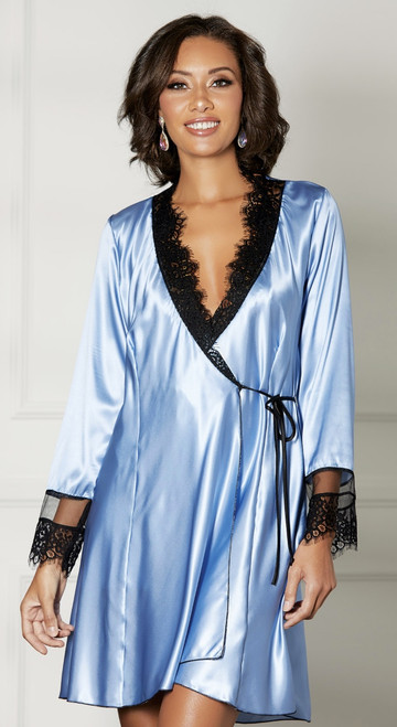 Periwinkle Blue Charmeuse and Black Lace Robe
