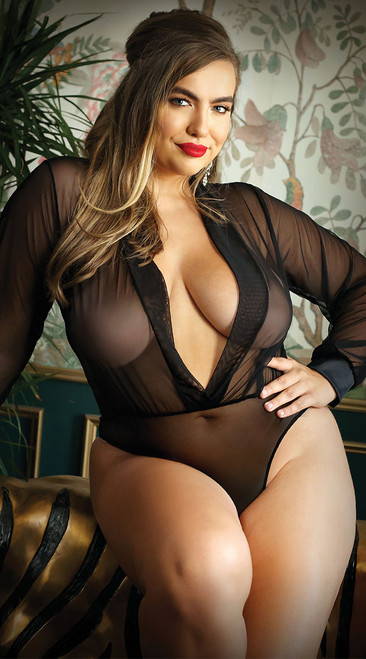 Plus Size Moonlight Long Sleeved Bodysuit