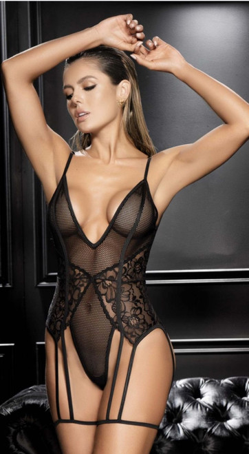 Gorgeous Black Fishnet Mesh and Floral Lace Teddy
