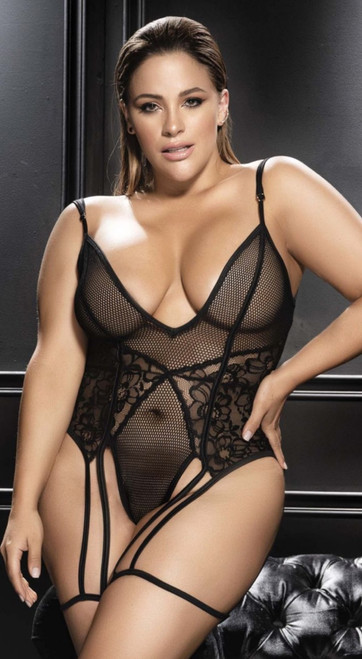 Plus Size Gorgeous Black Fishnet Mesh and Floral Lace Teddy