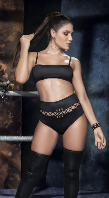 Sexy Black Top and High Waist Panty Set