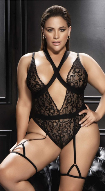 Plus Size Criss Cross Black Floral Lace Teddy