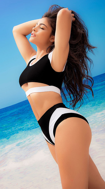 Sporty Black and White Contrast Swimsuit