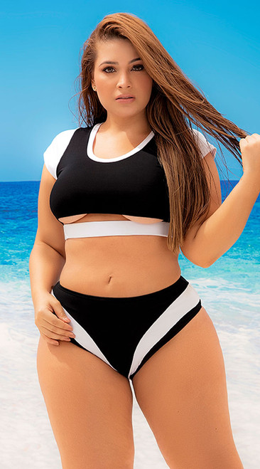Plus Size Sporty Black and White Contrast Swimsuit
