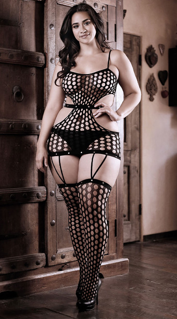 Plus Size Power Moves Cutout Dress with Attached Gartered Stockings