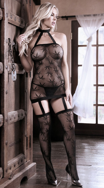 High Society Halter Dress with Attached Gartered Stockings
