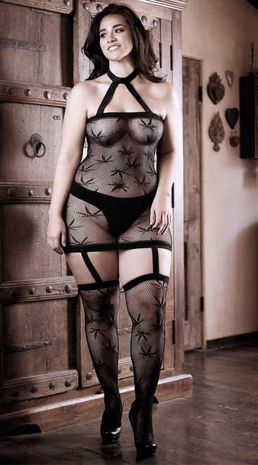 Plus Size High Society Halter Dress with Attached Gartered Stockings