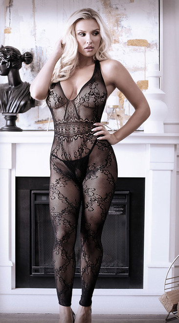 Good As Hell Halter Lace Footless Bodystocking
