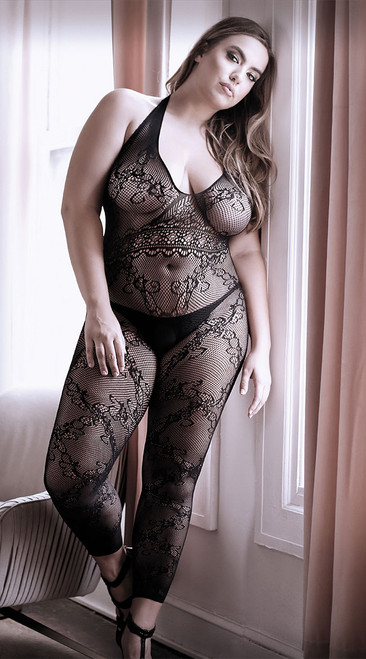 Plus Size Good As Hell Halter Lace Footless Bodystocking