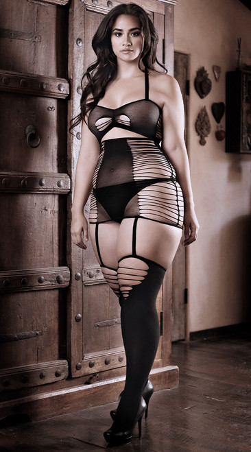 Plus Size Love Bite Cutout Dress with Attached Stockings