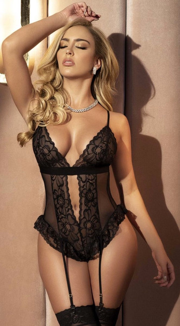 Sexy Black Mesh and Ruffle Lace Teddy