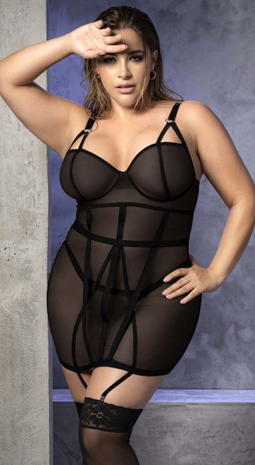 Plus Size Sexy Fitted Black Chemise Set