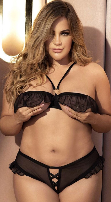 Plus Size Ruffle Open Cup Bra and Panty