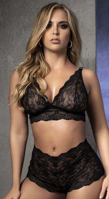 The Perfect Black Lace Bralette and Panty