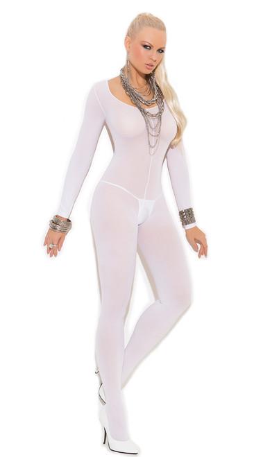 White Long Sleeve Bodystocking
