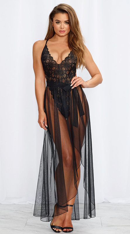 Mosaic Stretch Black Lace Teddy and Sheer Mesh Maxi Skirt