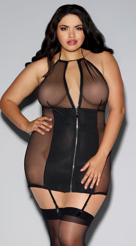 Plus Size Black Mesh and Microfiber Zipper Front Garter Slip