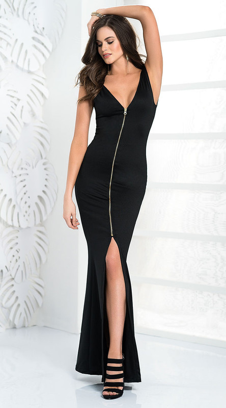 Simply Divine Zipper Front Long Gown