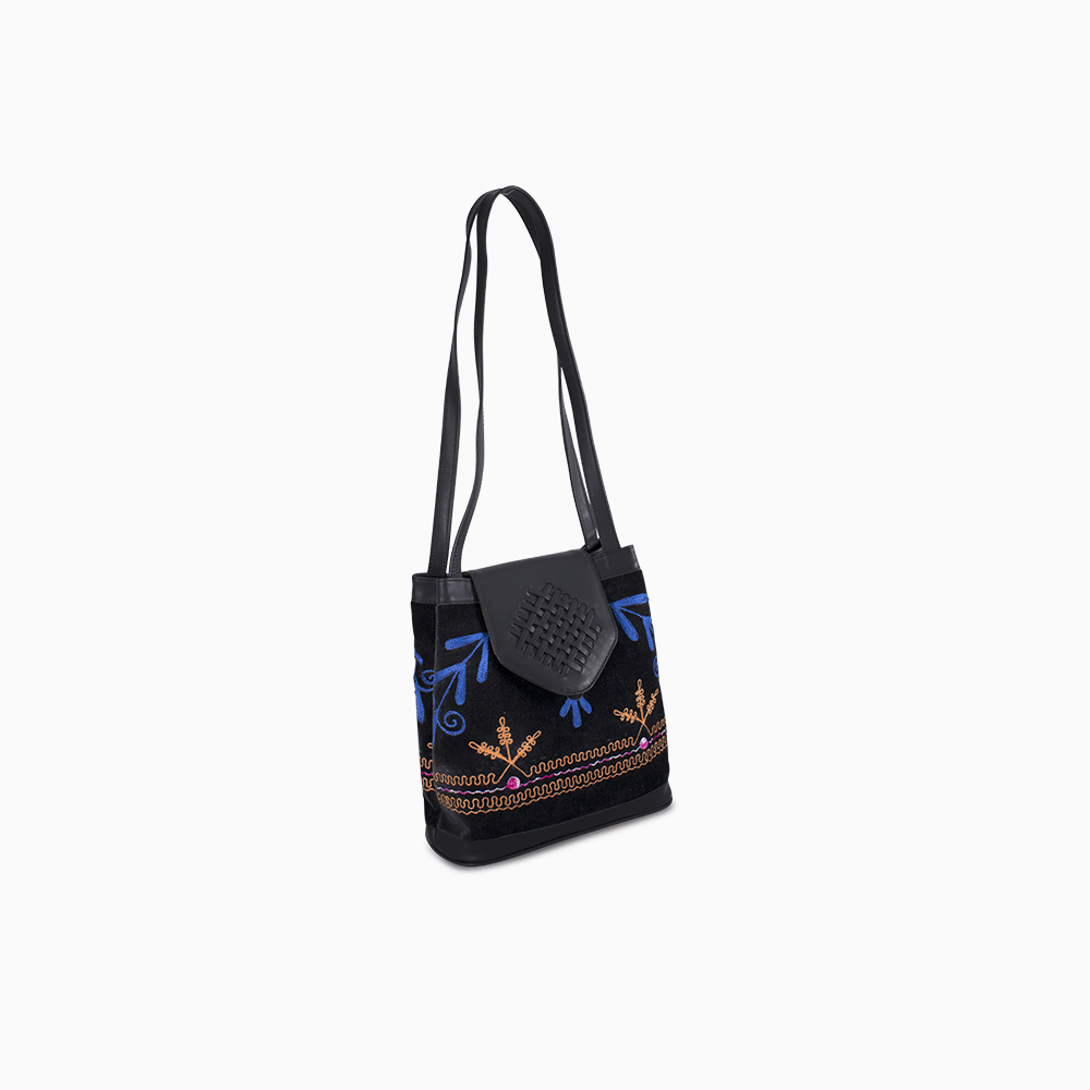Suzani Shoulder Bag with Black Leather