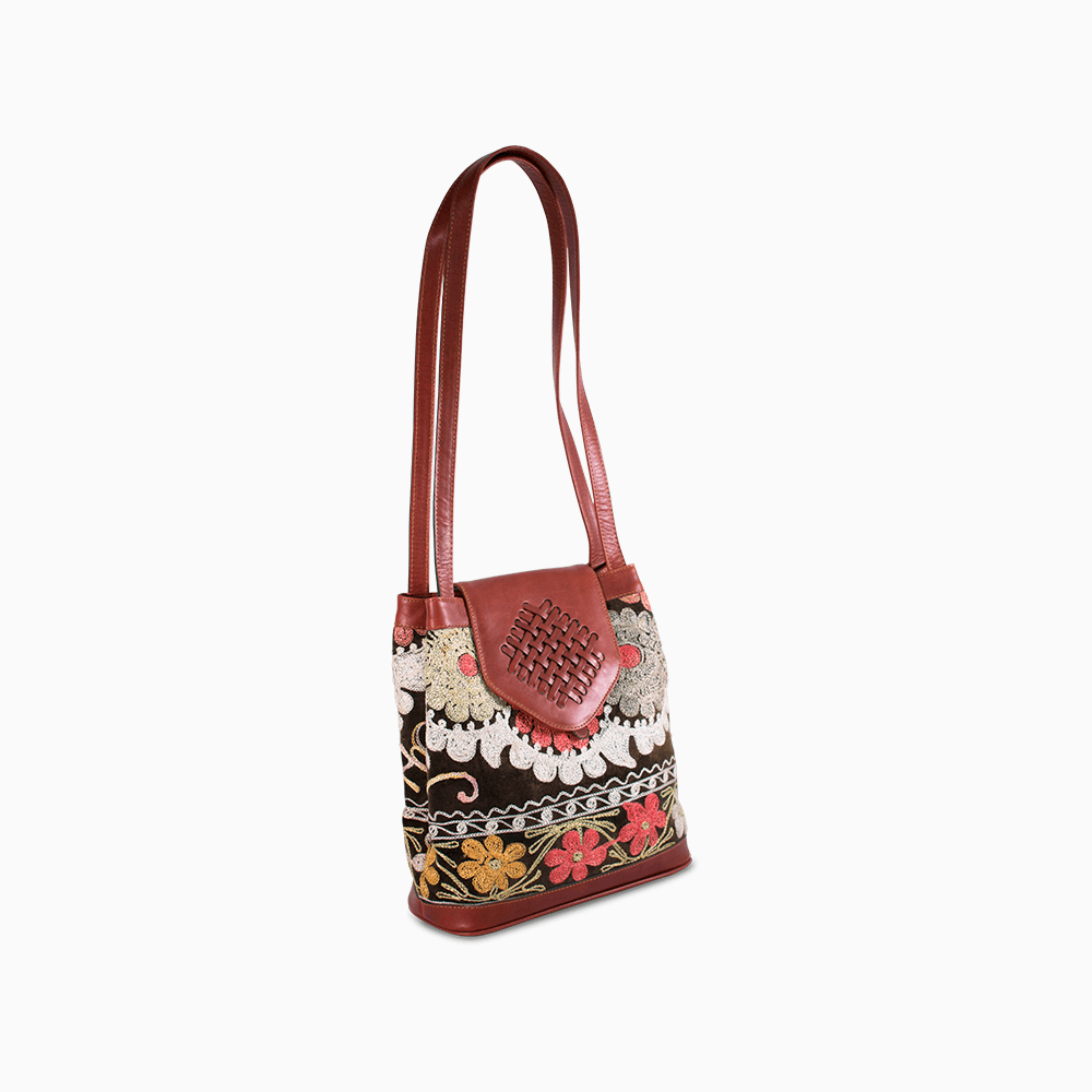 Suzani Shoulder Bag with Brown Leather