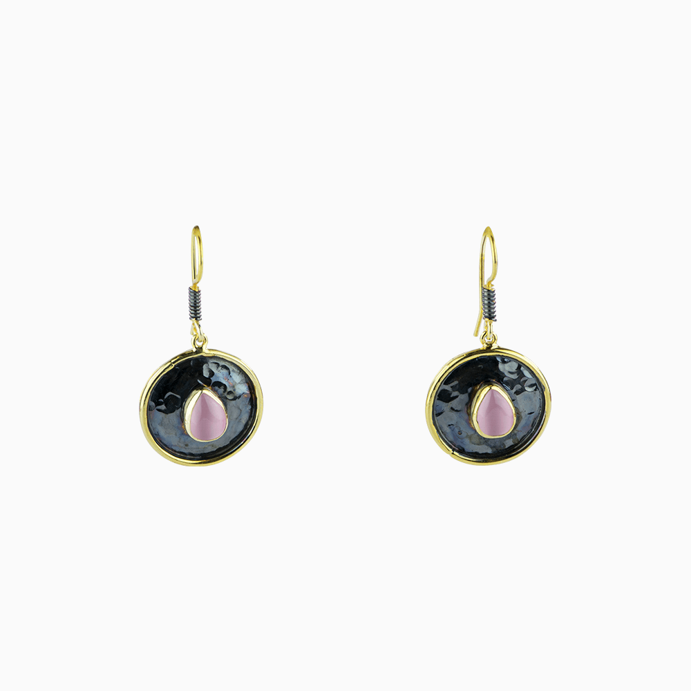 Golden Circle Earrings - Pink