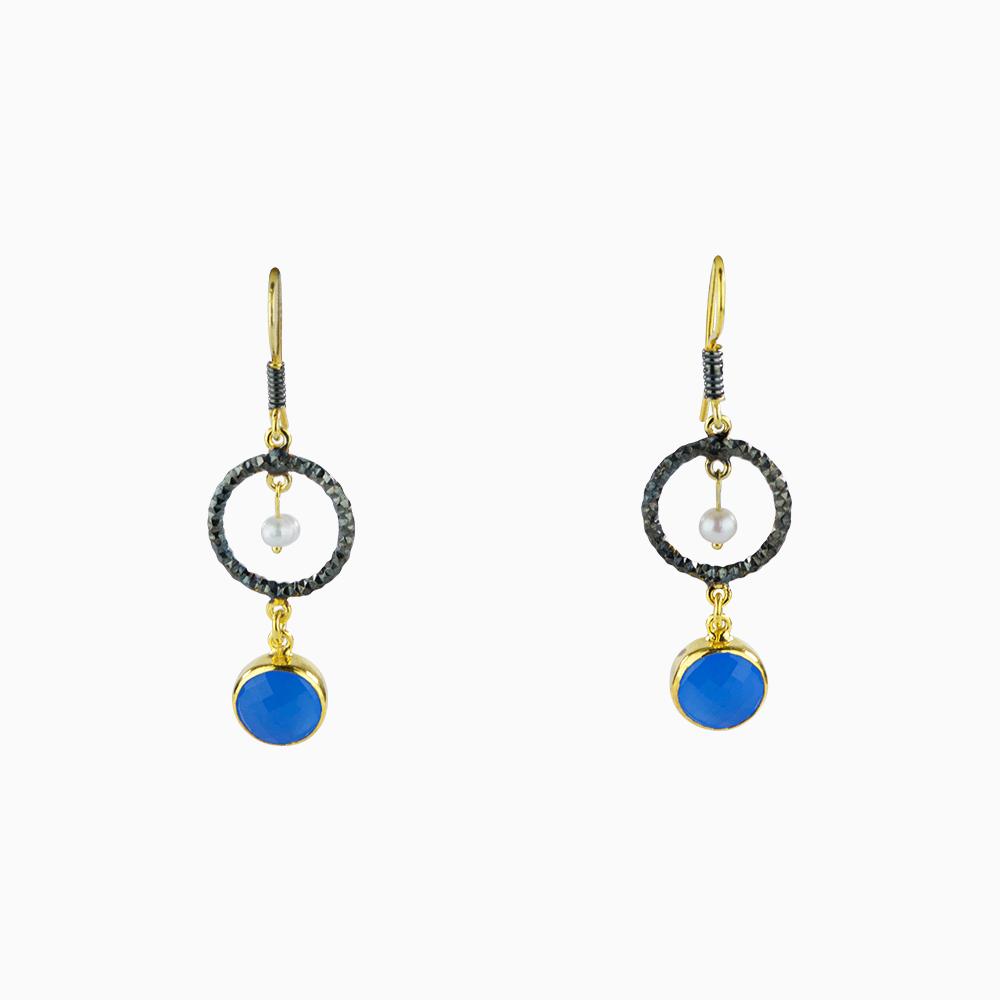 Peakaboo Pearl Earrings - Blue/Round