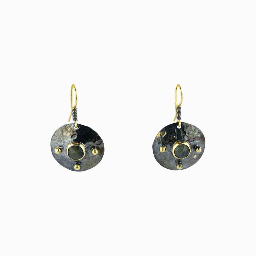 Four Dots Earrings - Green