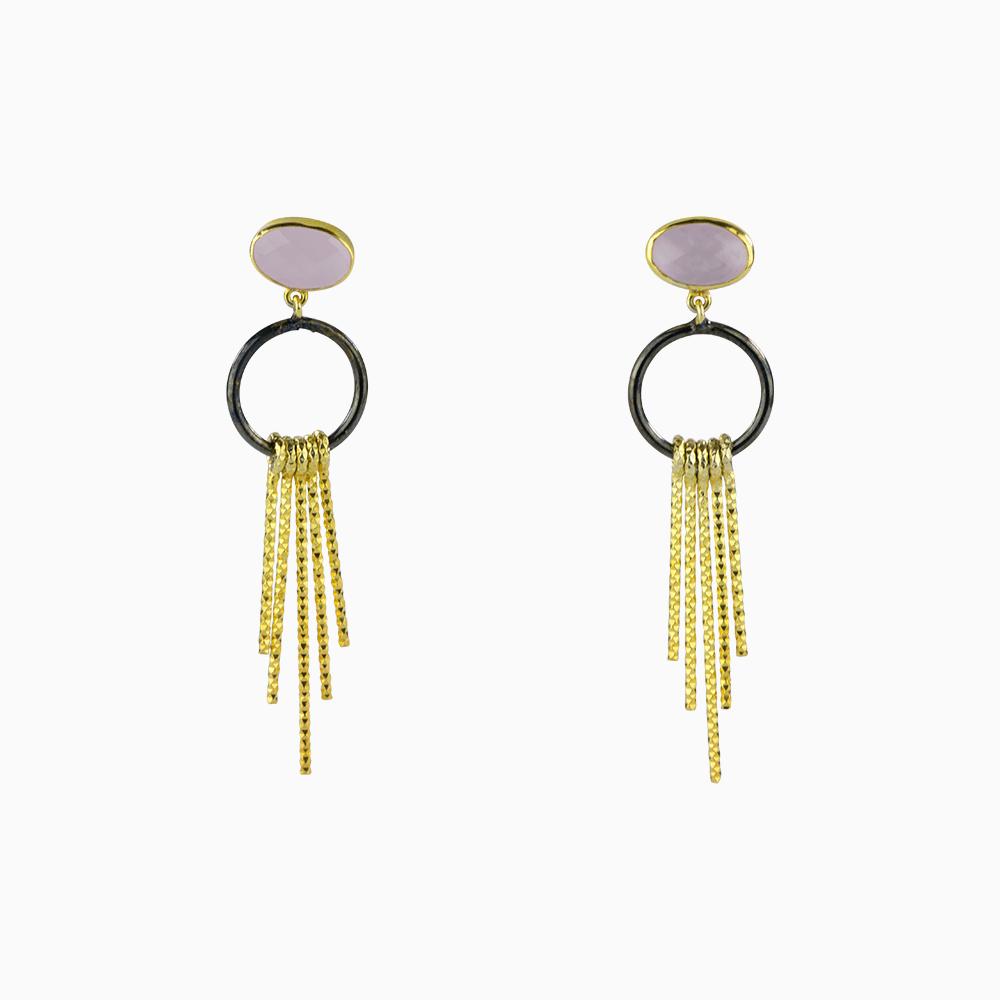 Golden Fringe Earrings - Pink