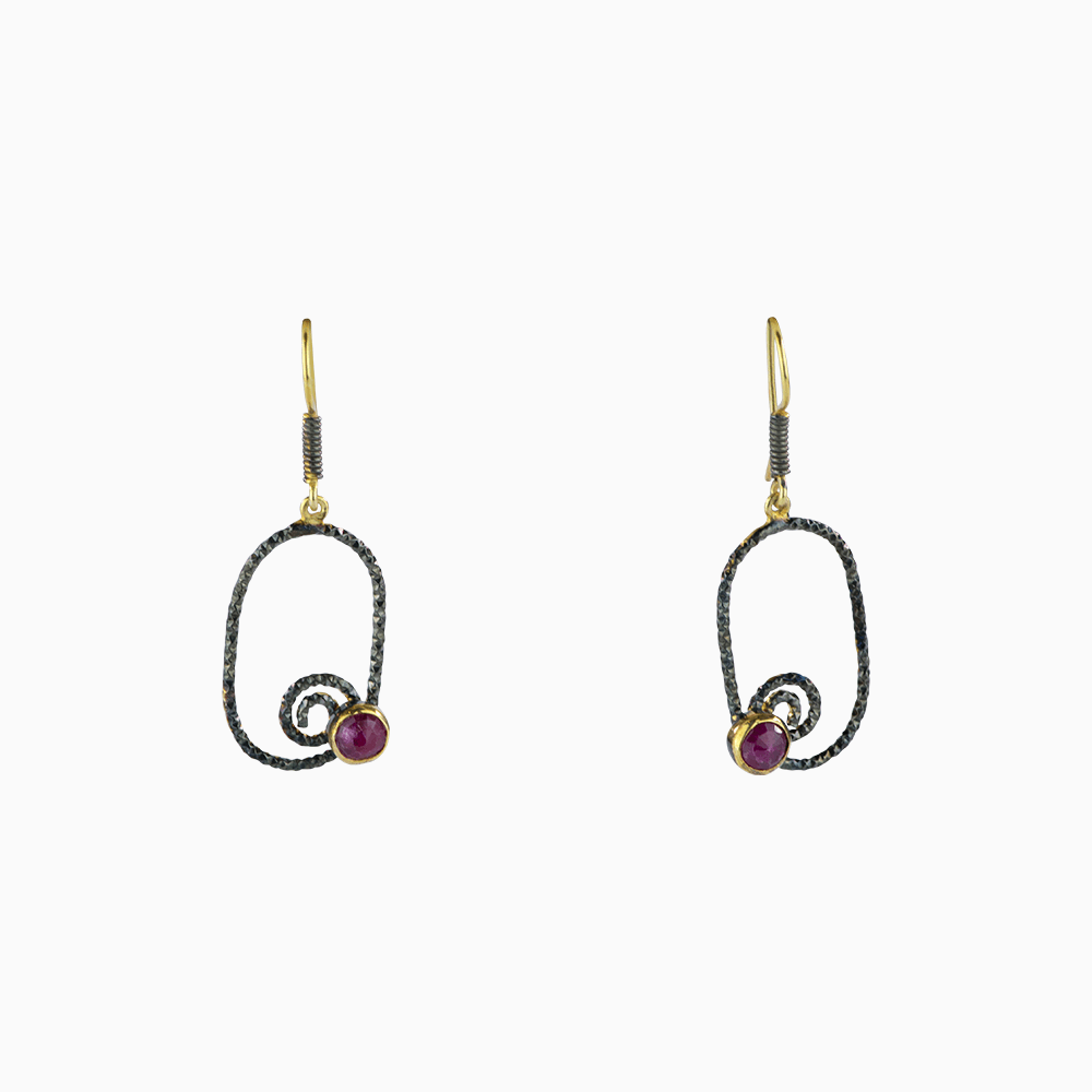 Oval Swirl Earrings - Magenta