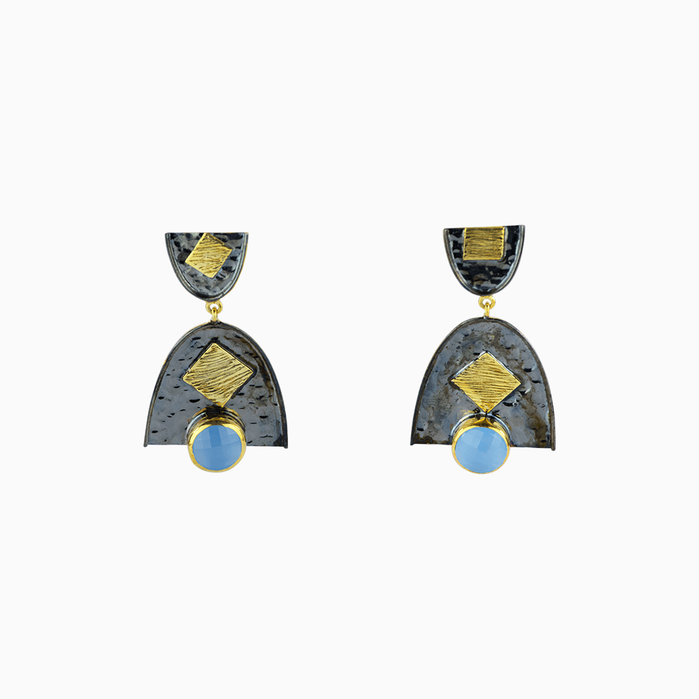 Cirles and Squares Earrings - Blue