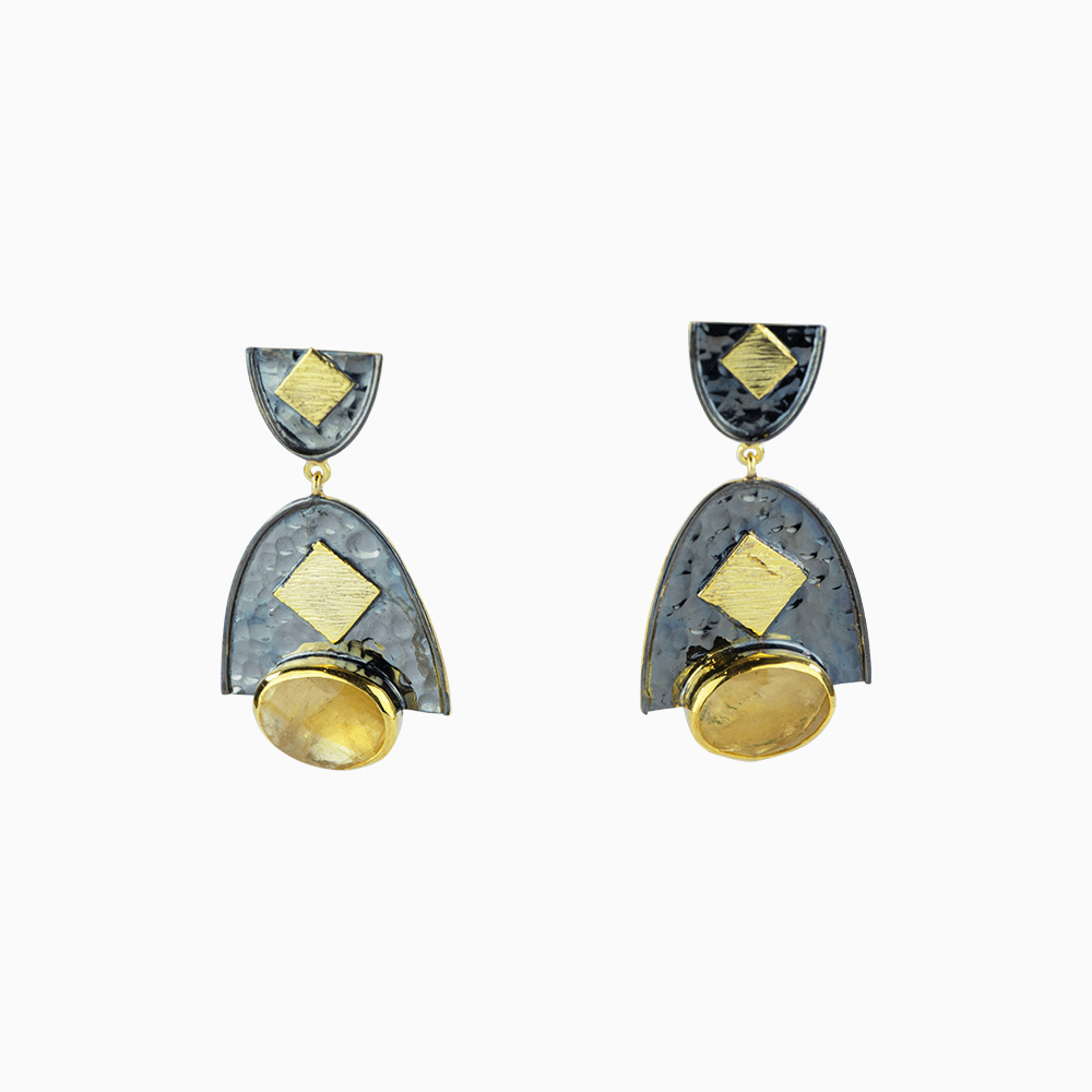 Cirles and Squares Earrings - Yellow