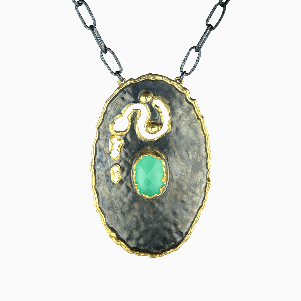 Deep Oyster Necklace - Teal