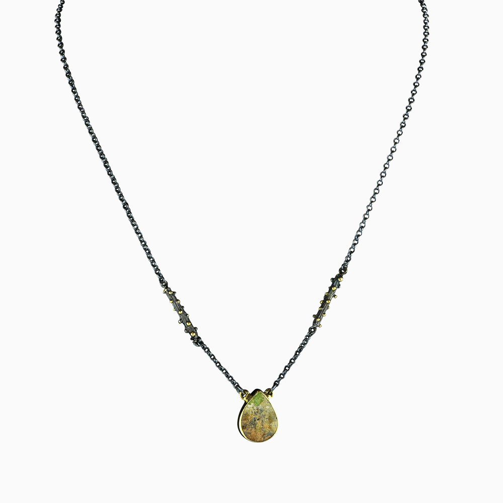 Branch Chain Necklace - Green Turquoise