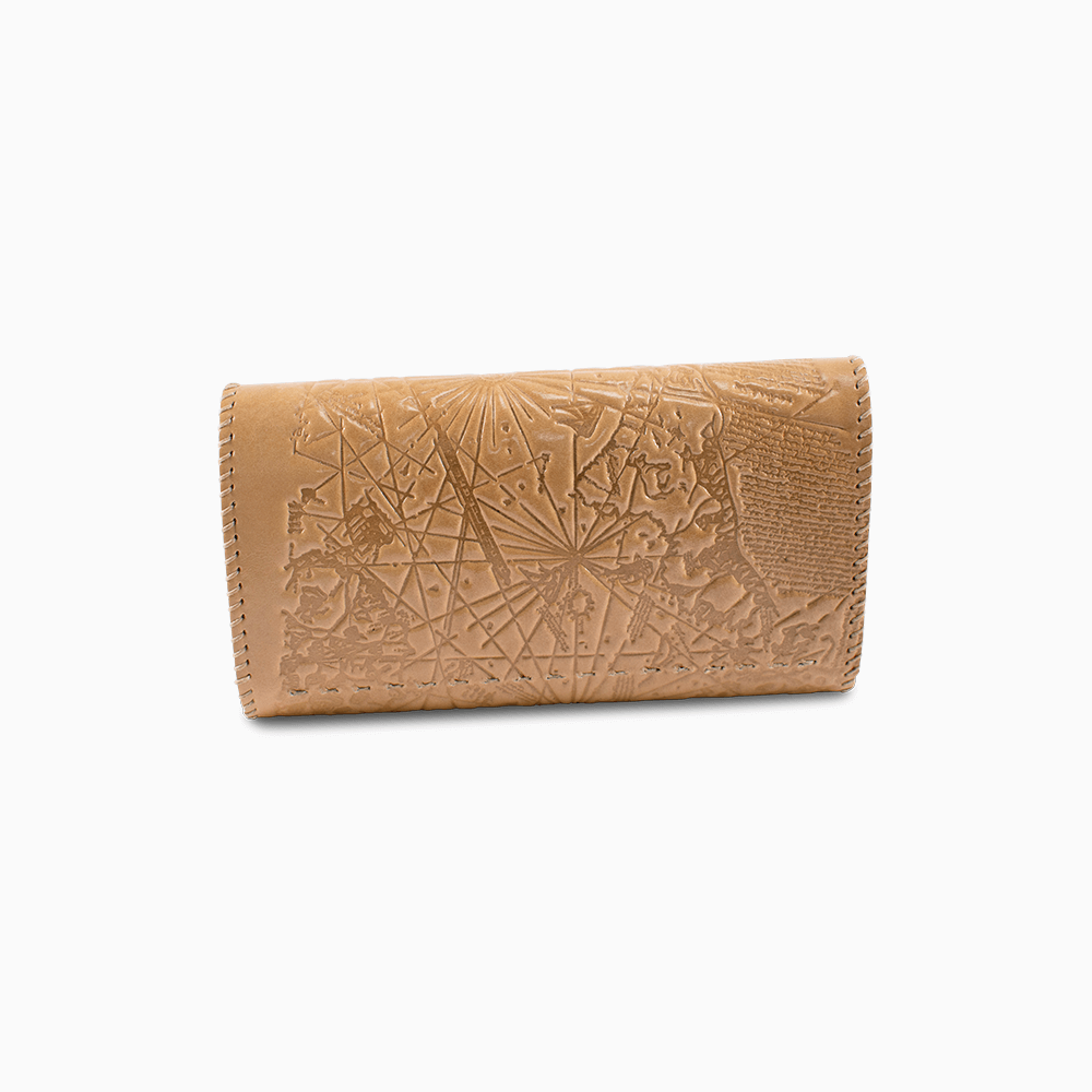 Leather Envelope Wallet - Map