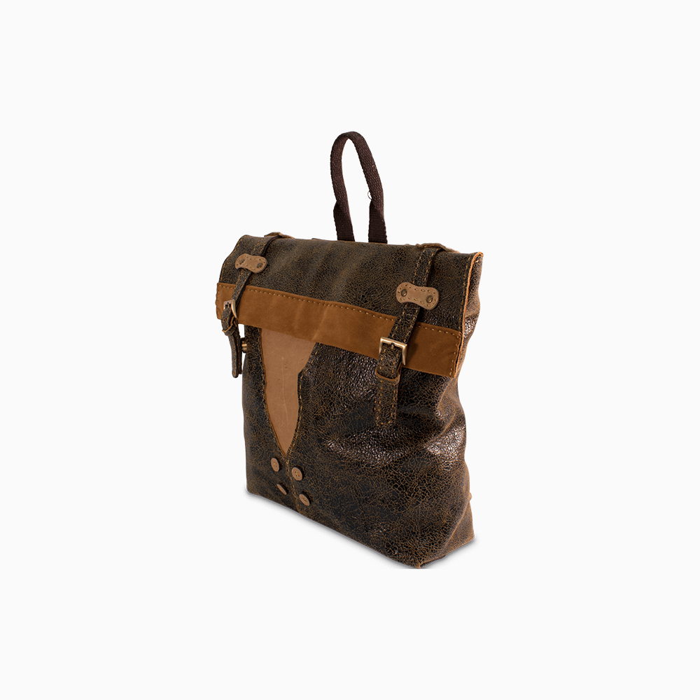 Leather Button Backpack