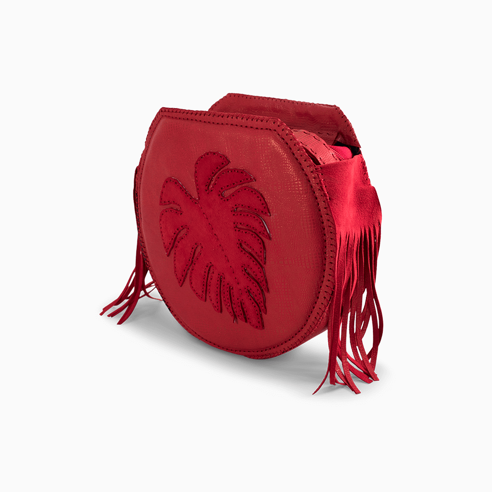Red Leather Circle Crossbody