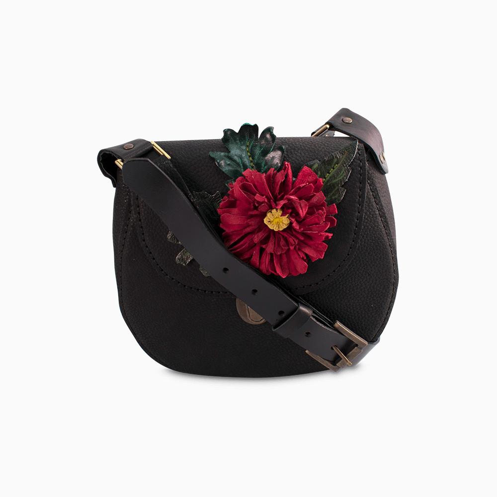Leather Flower Satchel